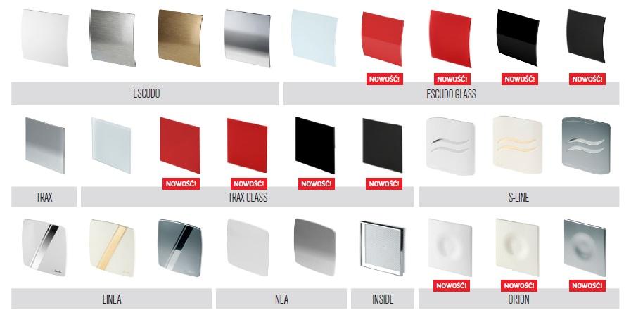 Wentylator łazienkowy ścienny cichy energooszczędny kolory szkło KWS100 Wentylator domowy kuchenny fi100 szkło