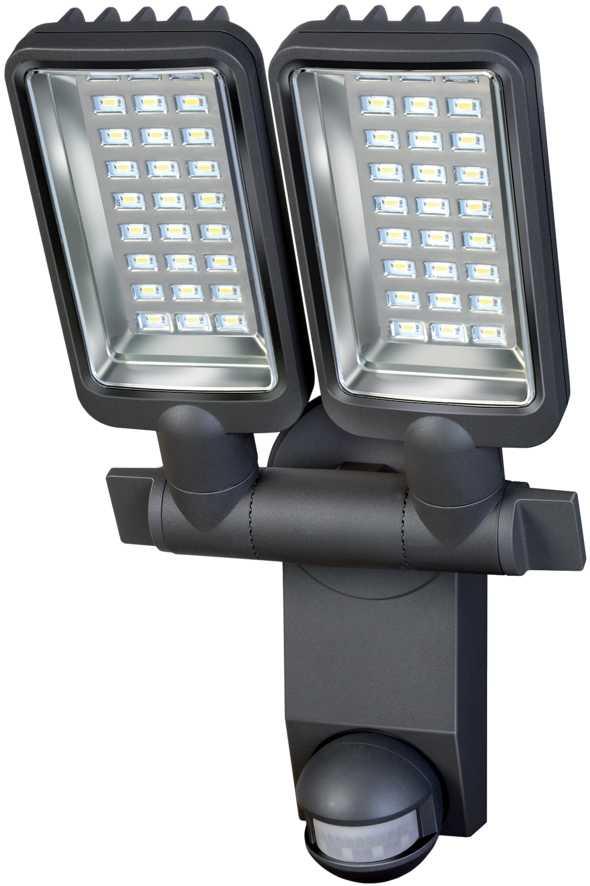 Reflektor LED podwójny IP44 z czujnikiem PIR 2160LM aluminiowa lampa LED 54x0,5W klasa A