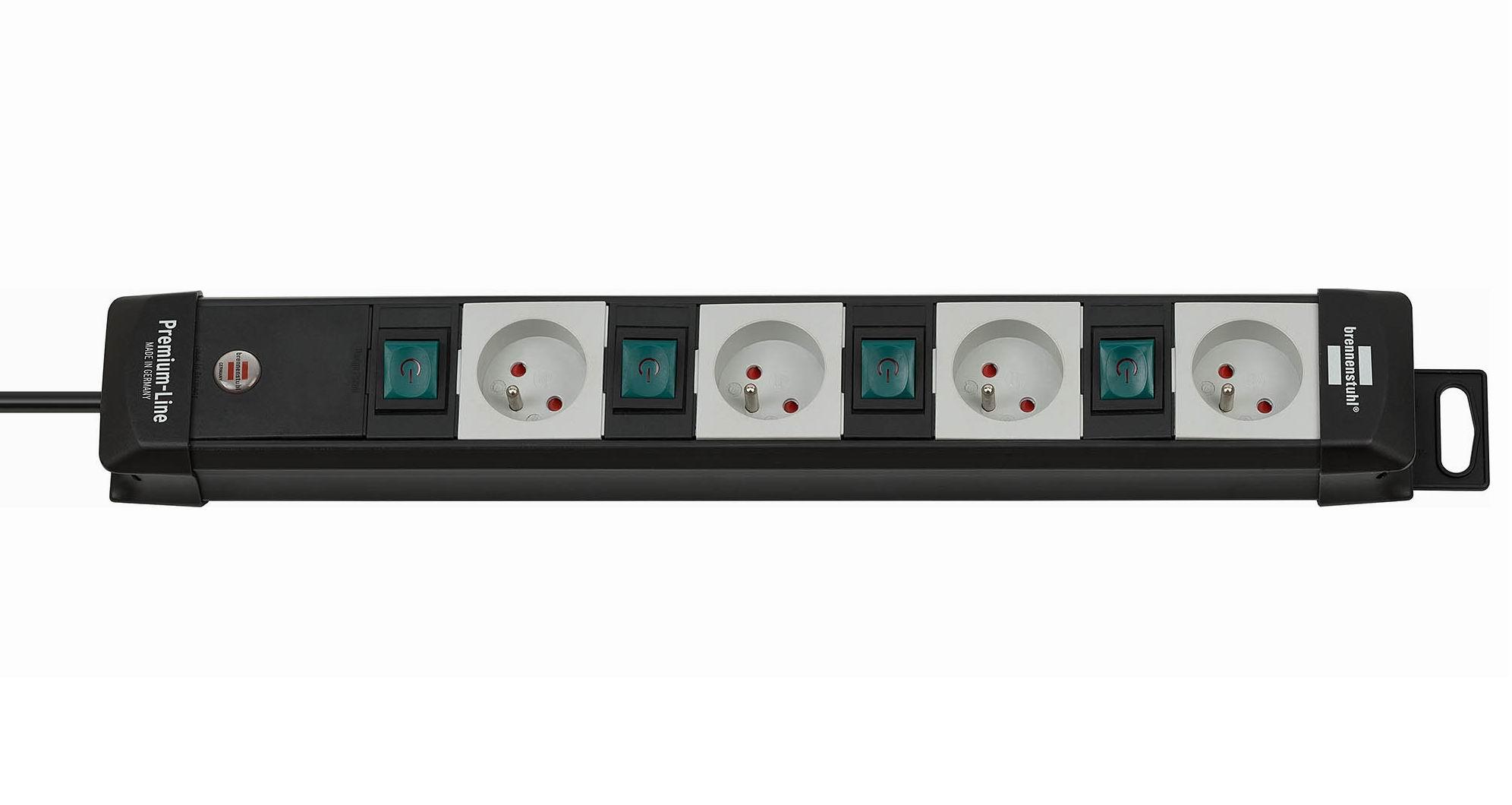 Listwa zasilająca Premium-Line 4 gniazda wtykowe z wyłącznikami niemiecka