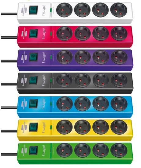 Przedłużacz listwowy przepięciowy 4 gniazda kolory 2m H05VV-F 3G1,5  19.500A