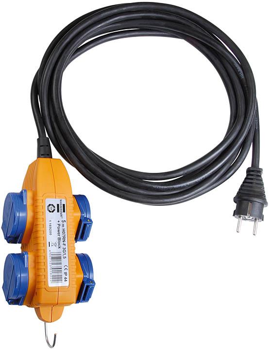 przedłużacz budowlany IP44  5m czarny H07RN-F OPD 3G2,5 Przedłużacz Powerblock IP44 do zastosowań budowlanych 5m czarny H07RN-F G2,5